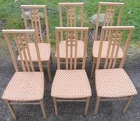 Set of Six Blond Wood Highback Dining Chairs